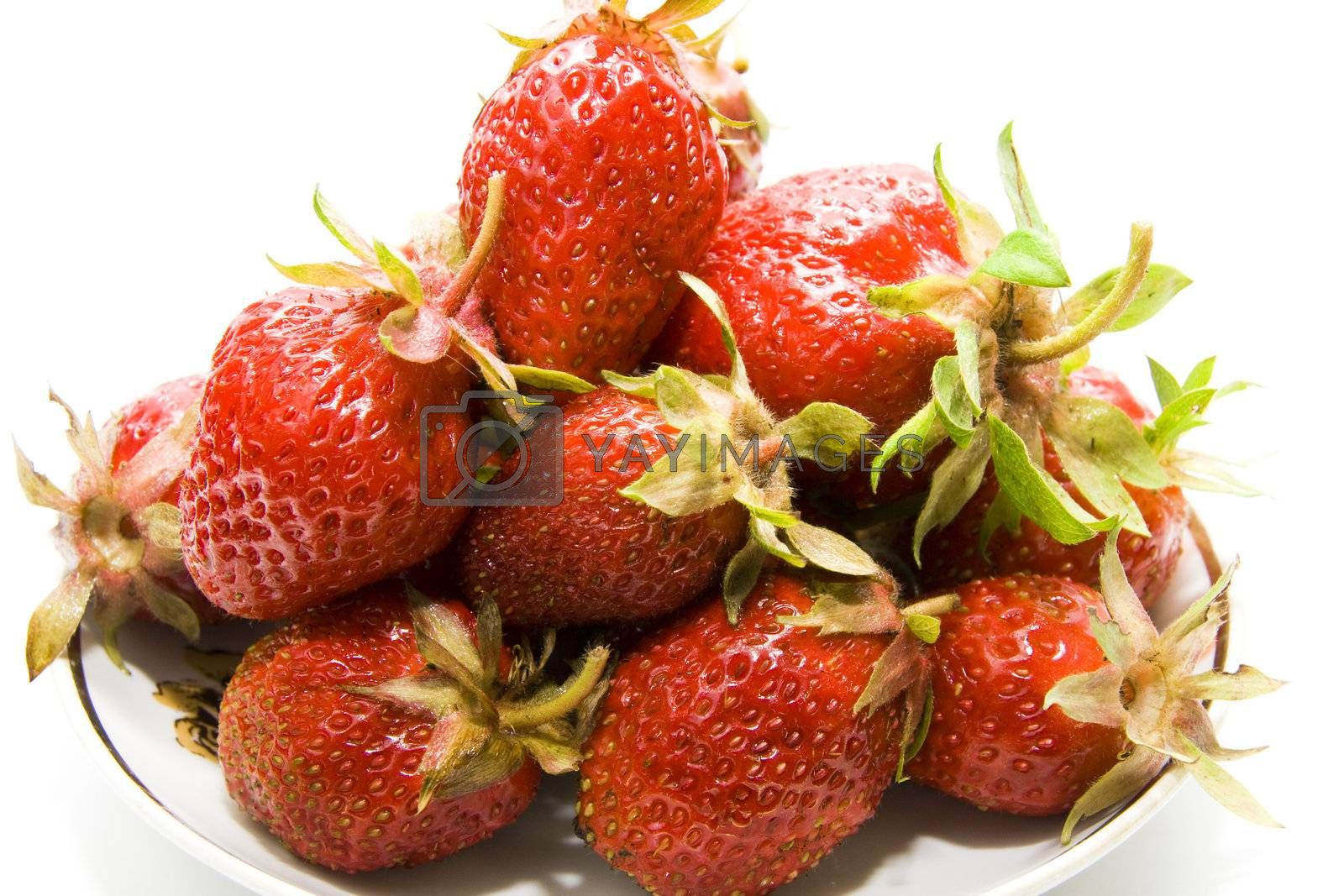 Close up of a strawberry isolated on white background
