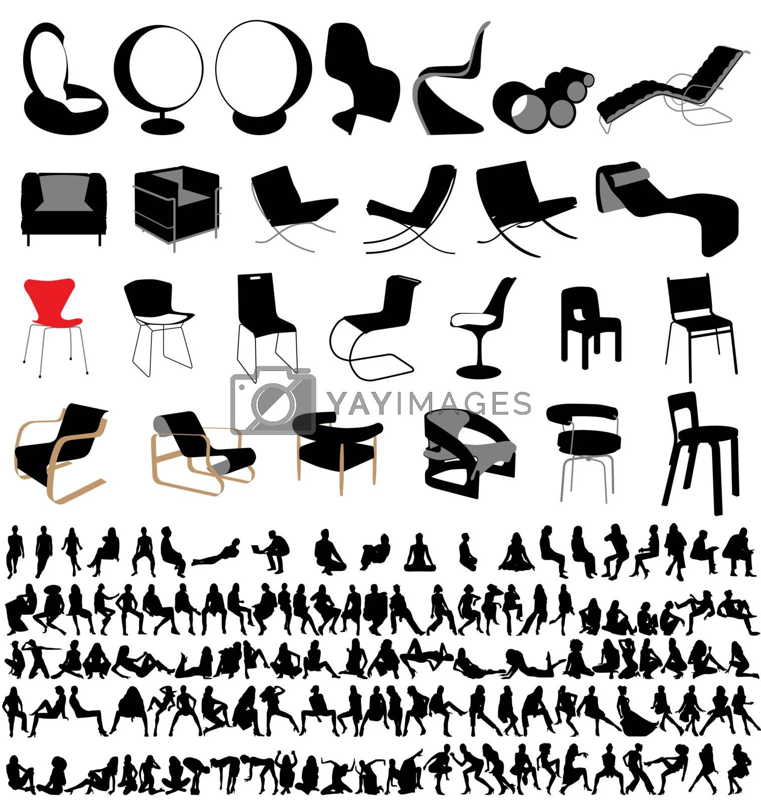many designer chairs and sitting people
