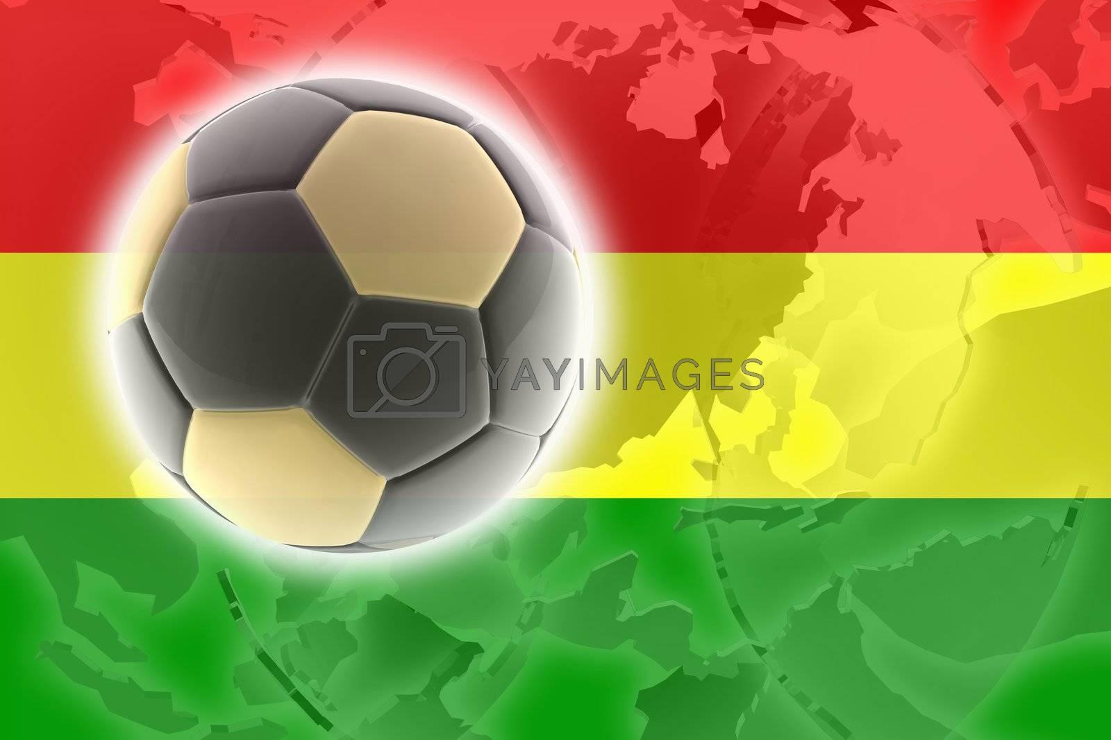 Flag of Bolivia, national country symbol illustration sports soccer football
