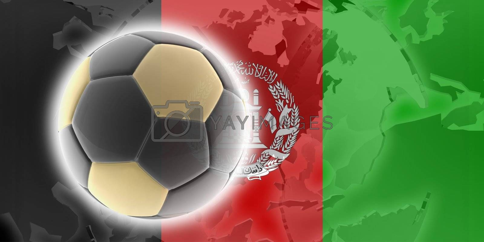 Flag of Afghanistan, national country symbol illustration sports soccer football