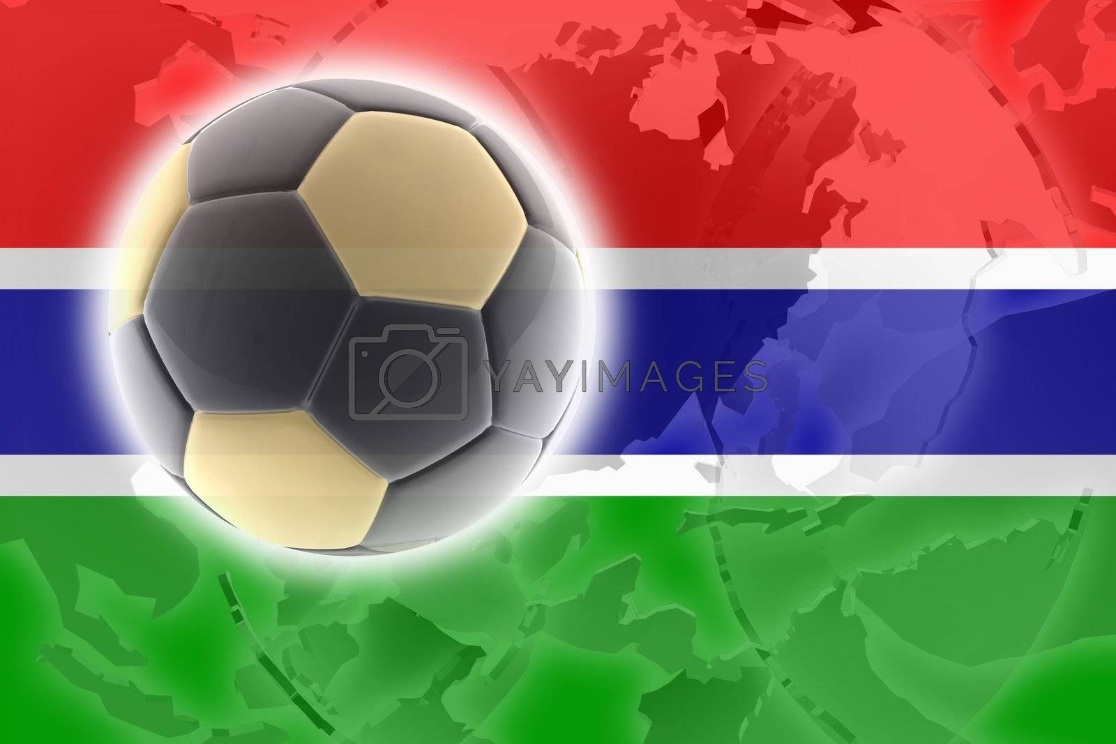 Flag of Gambia, national country symbol illustration sports soccer football
