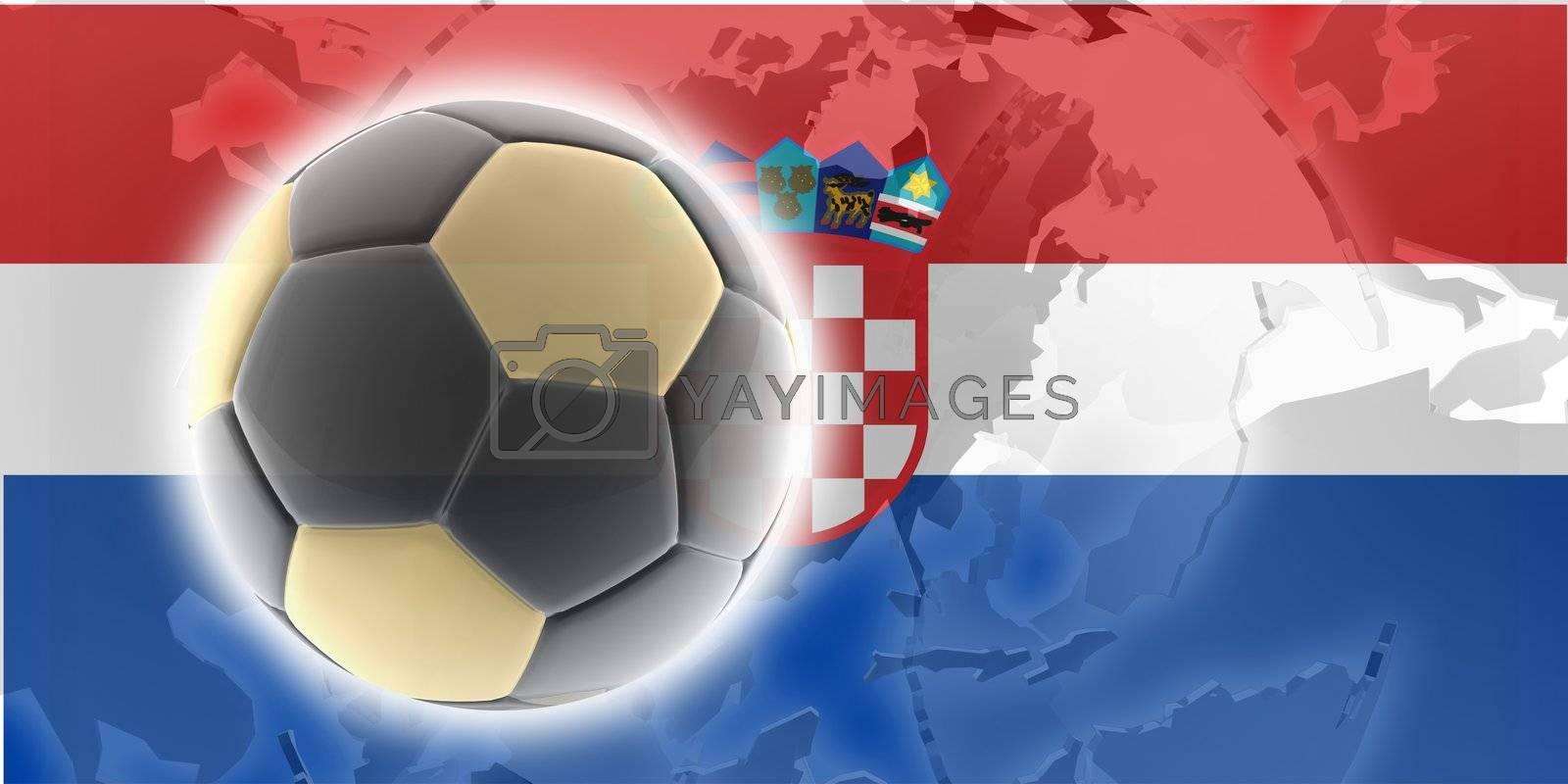 Flag of Croatia, national country symbol illustration sports soccer football