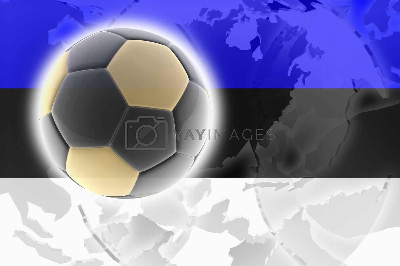 Flag of Estonia, national country symbol illustration sports soccer football