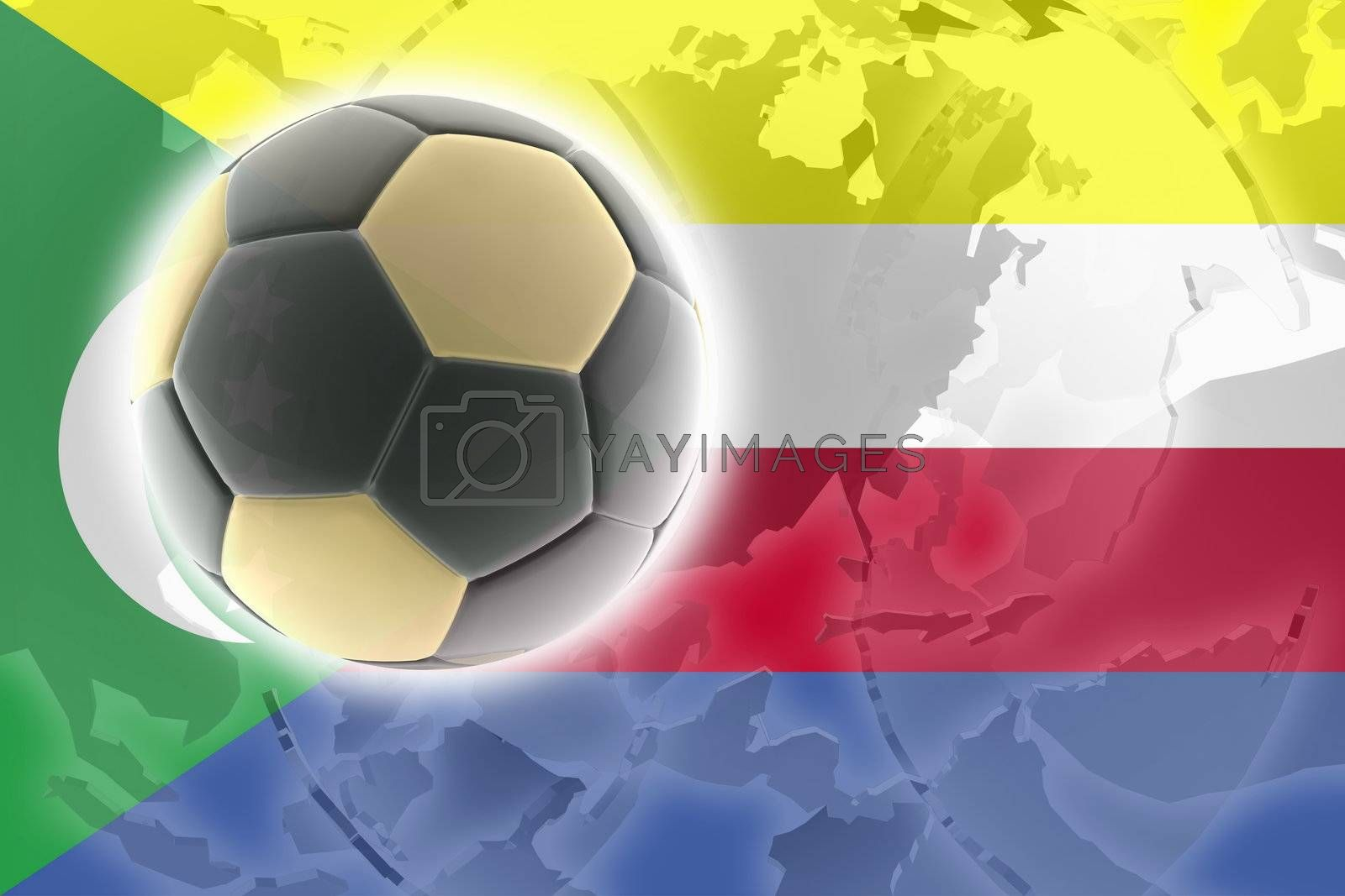 Flag of Comoros , national country symbol illustration sports soccer football