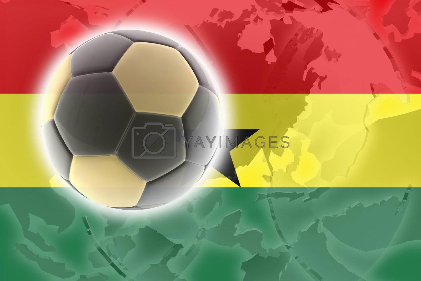 Flag of Ghana , national country symbol illustration sports soccer football