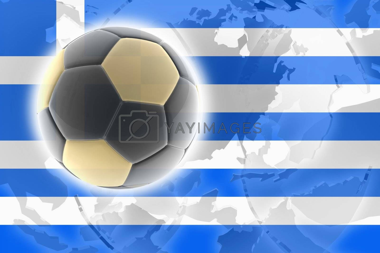 Flag of Greece, national country symbol illustration sports soccer football