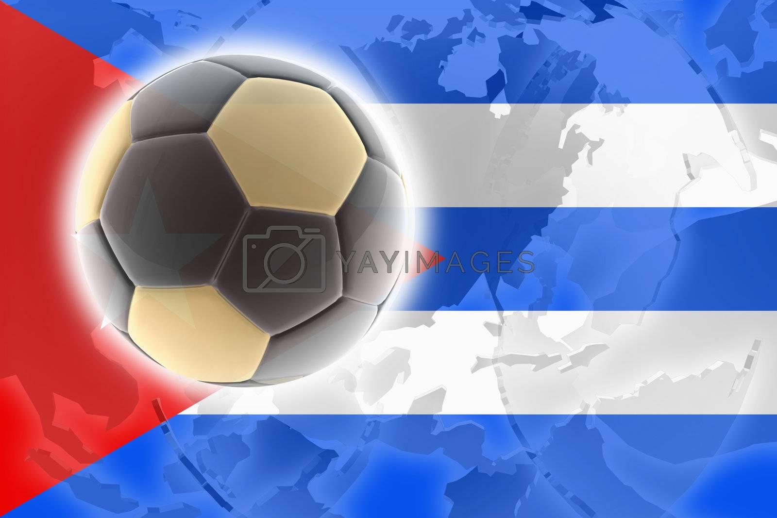 Flag of Cuba, national symbol illustration clipart sports soccer football