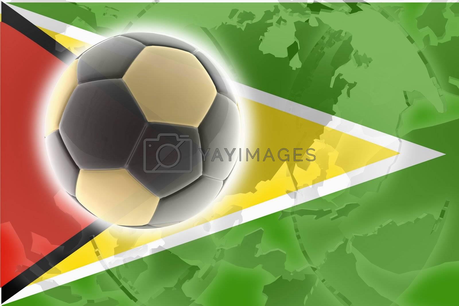 Flag of Guyana, national country symbol illustration sports soccer football