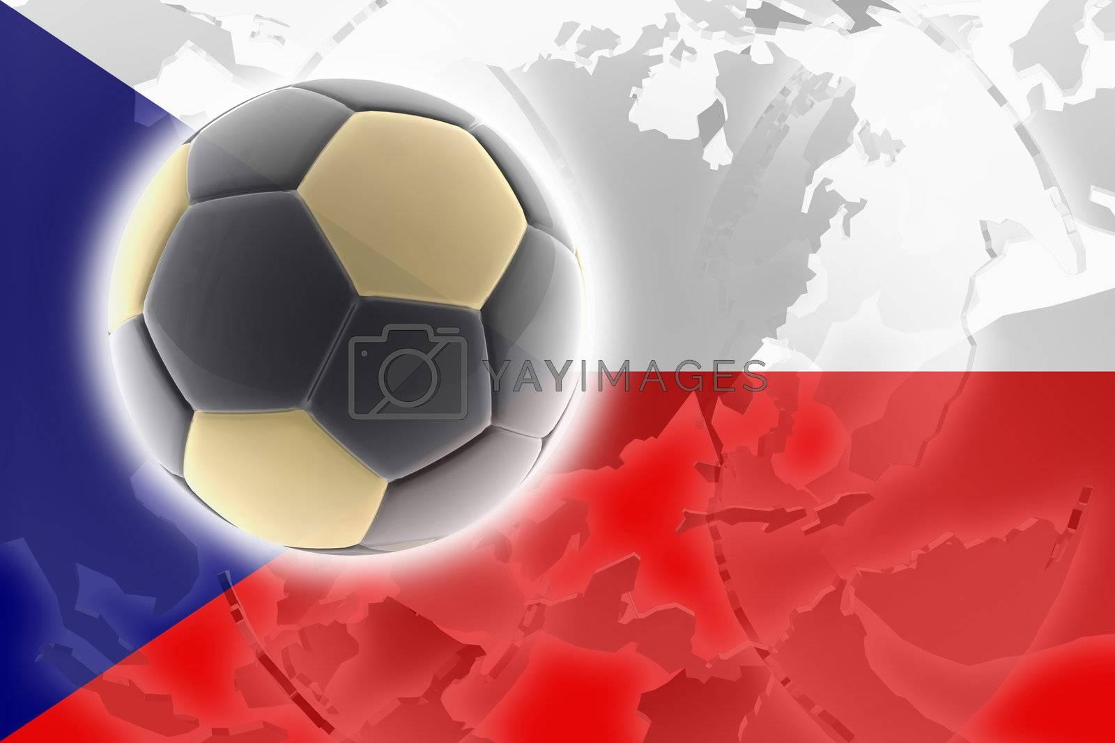 Flag of Czechoslovakia, national symbol illustration clipart sports soccer football
