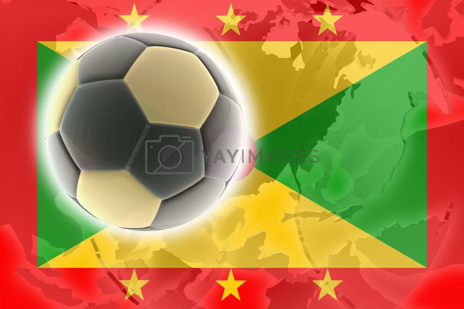 Flag of Grenada, national country symbol illustration sports soccer football
