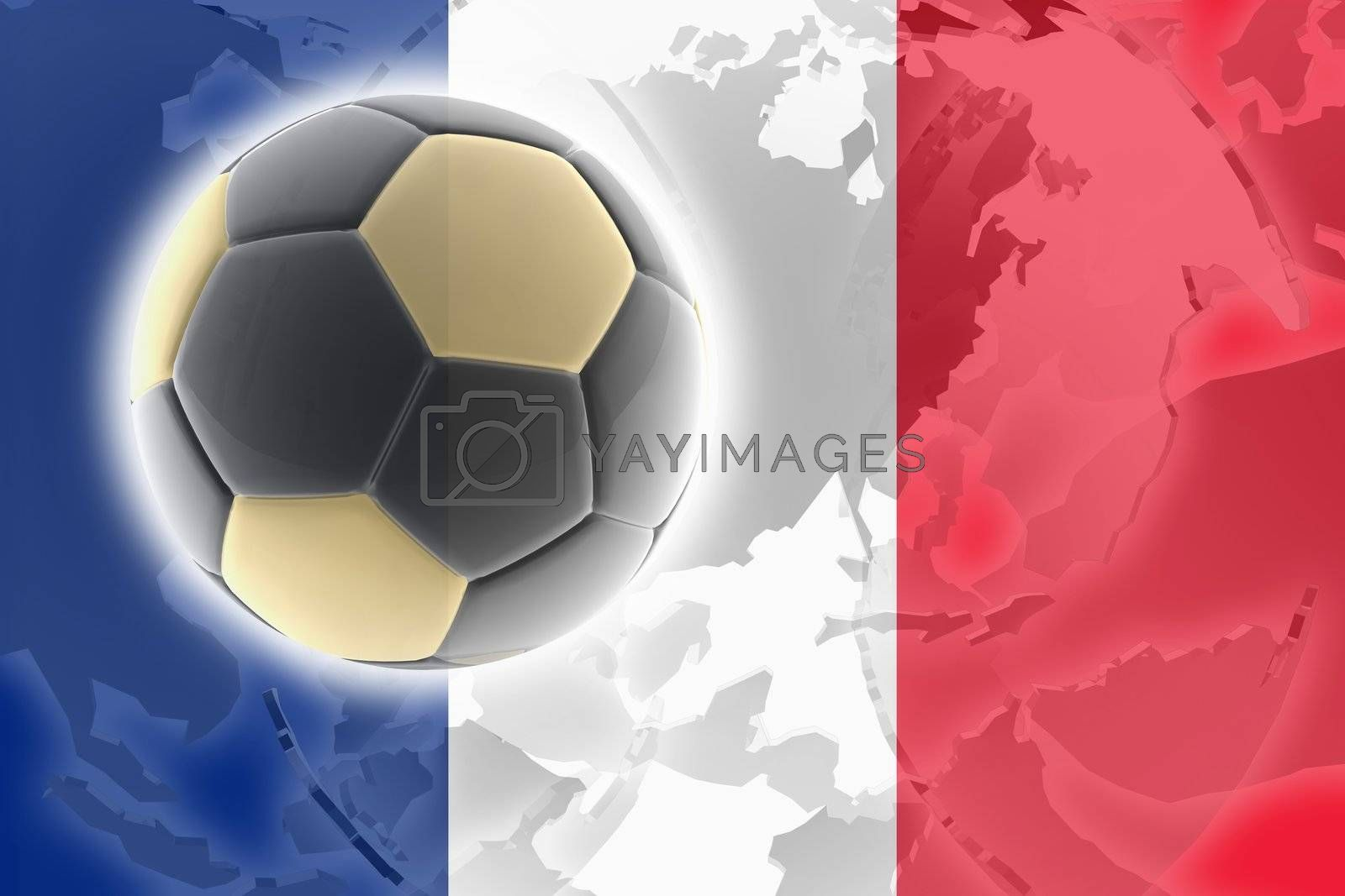 Flag of France, national country symbol illustration sports soccer football