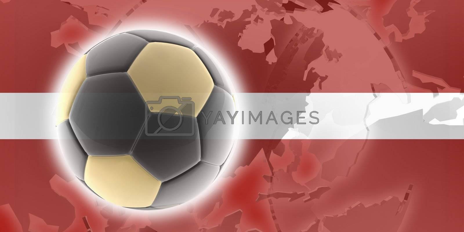 Flag of Latvia, national country symbol illustration sports soccer football