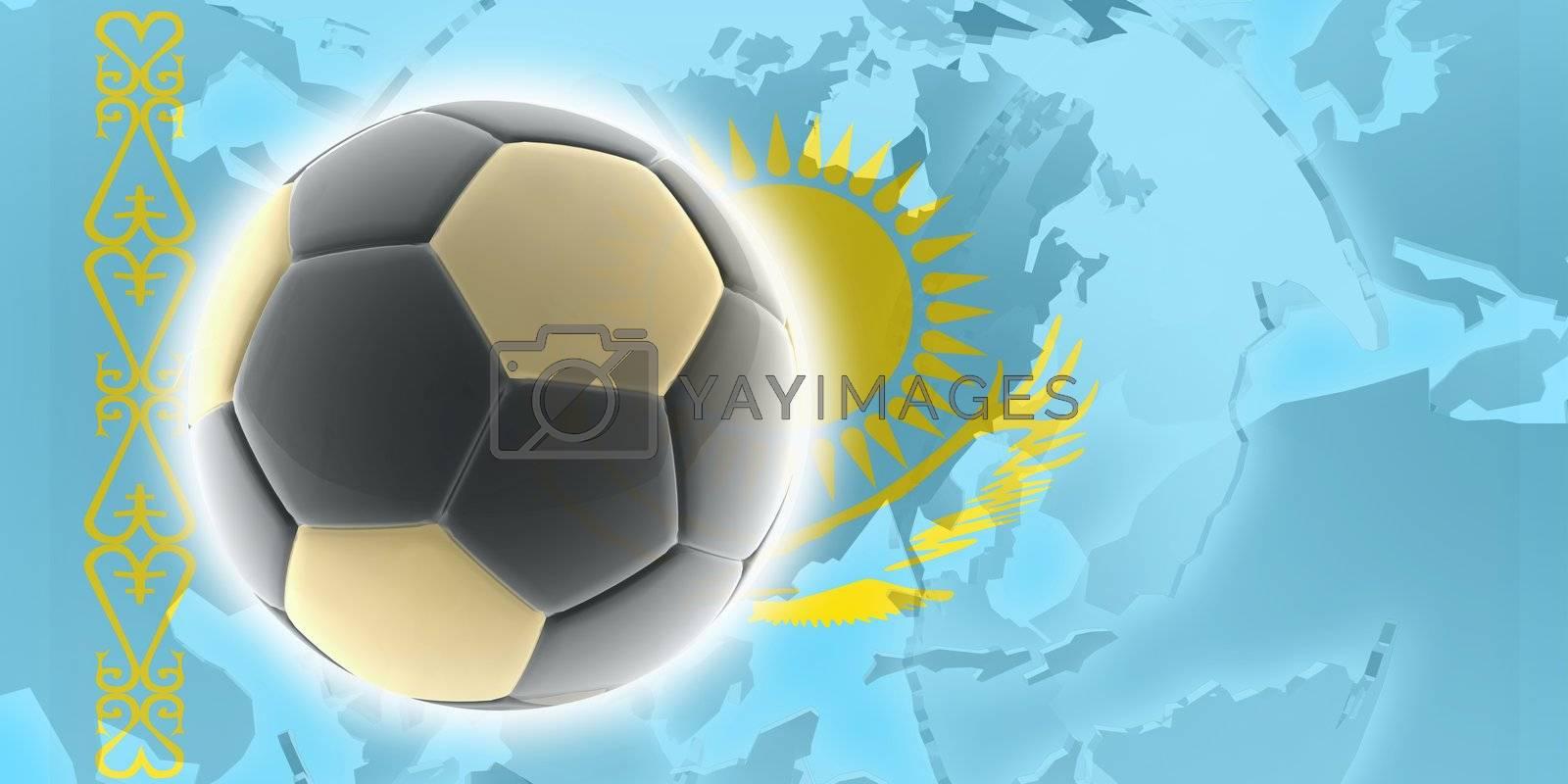 Flag of Kazakhstan, national country symbol illustration sports soccer football