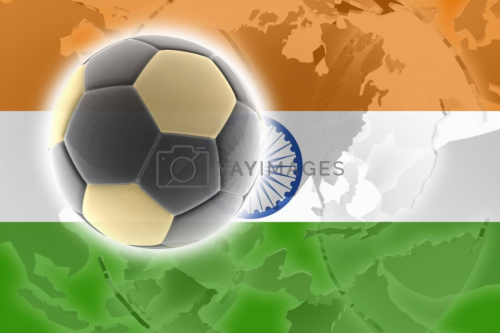 Flag of India, national country symbol illustration sports soccer football