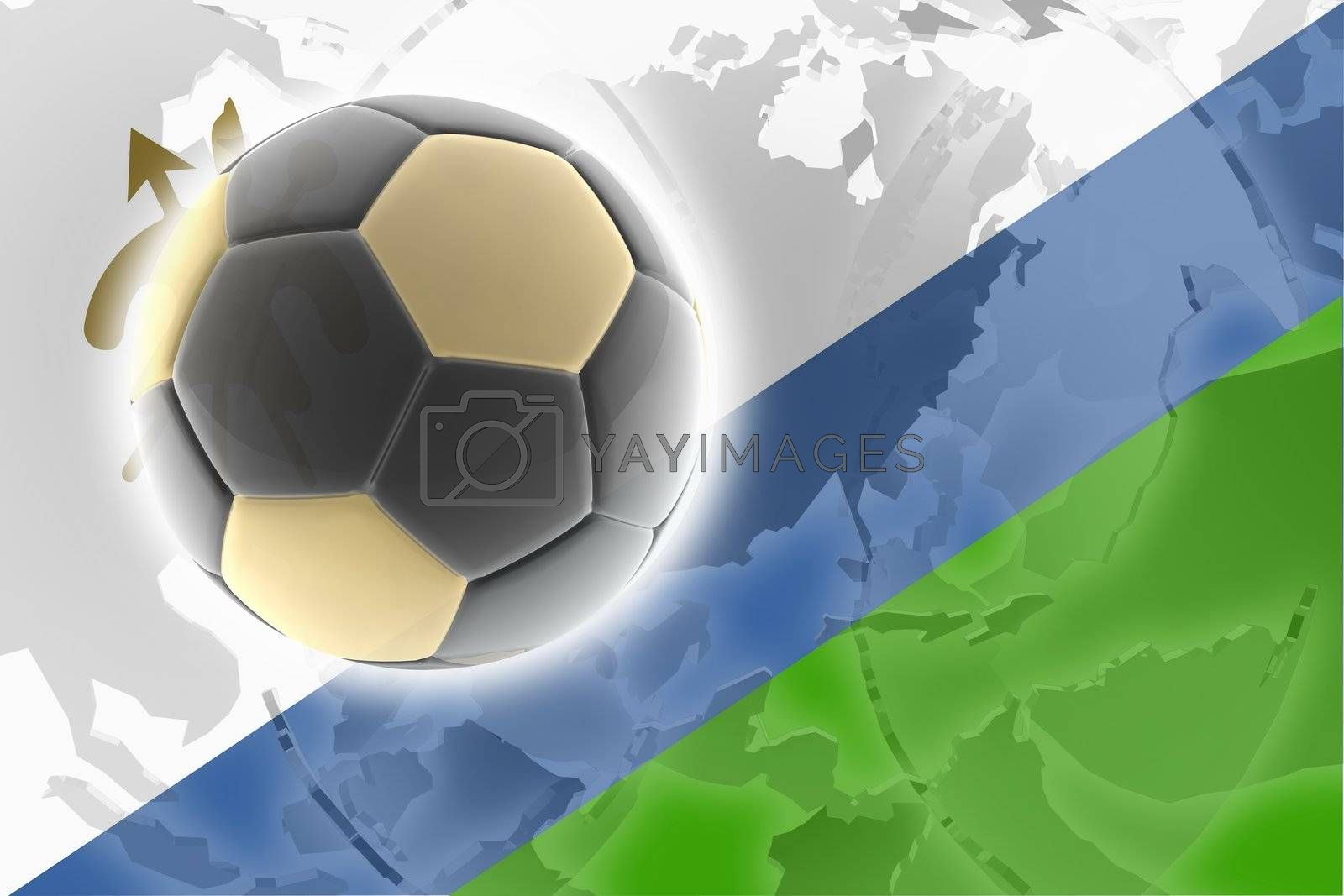 Flag of Lesotho, national country symbol illustration sports soccer football