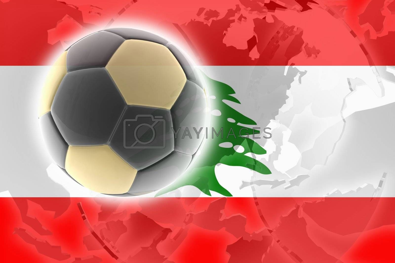 Flag of Lebanon, national country symbol illustration sports soccer football