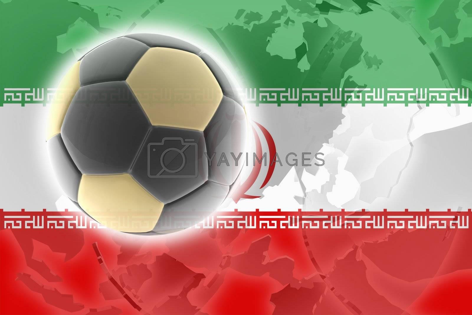 Flag of  Iran, national country symbol illustration sports soccer football