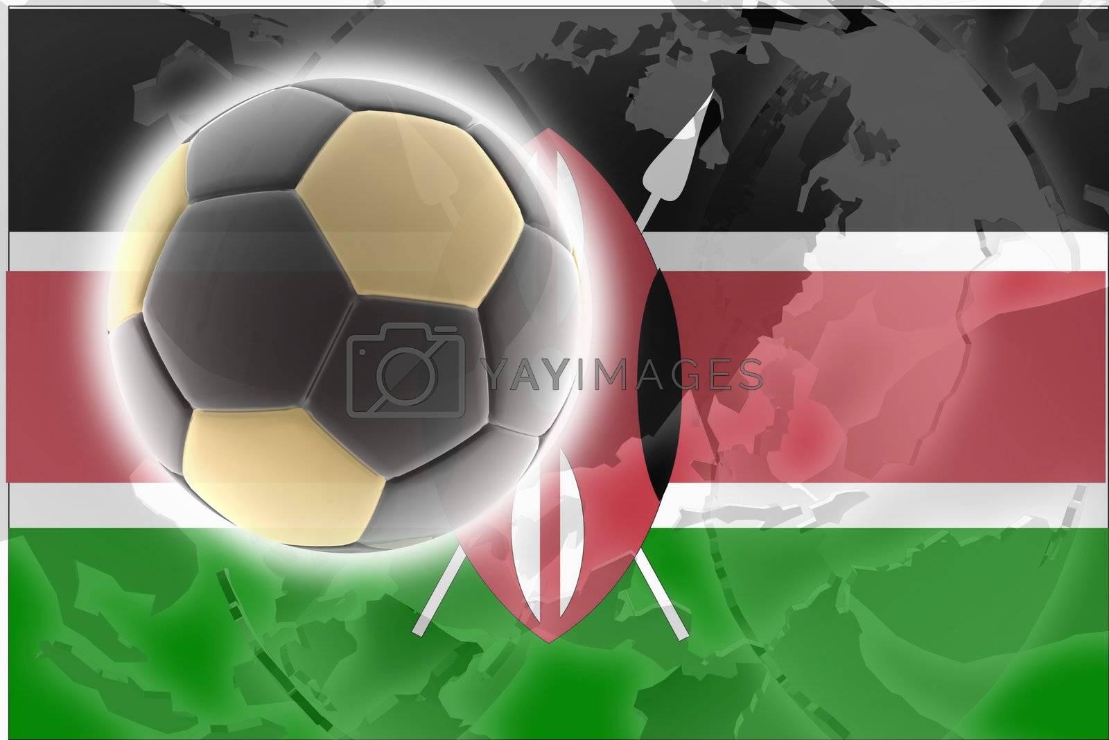 Flag of Kenya, national country symbol illustration sports soccer football