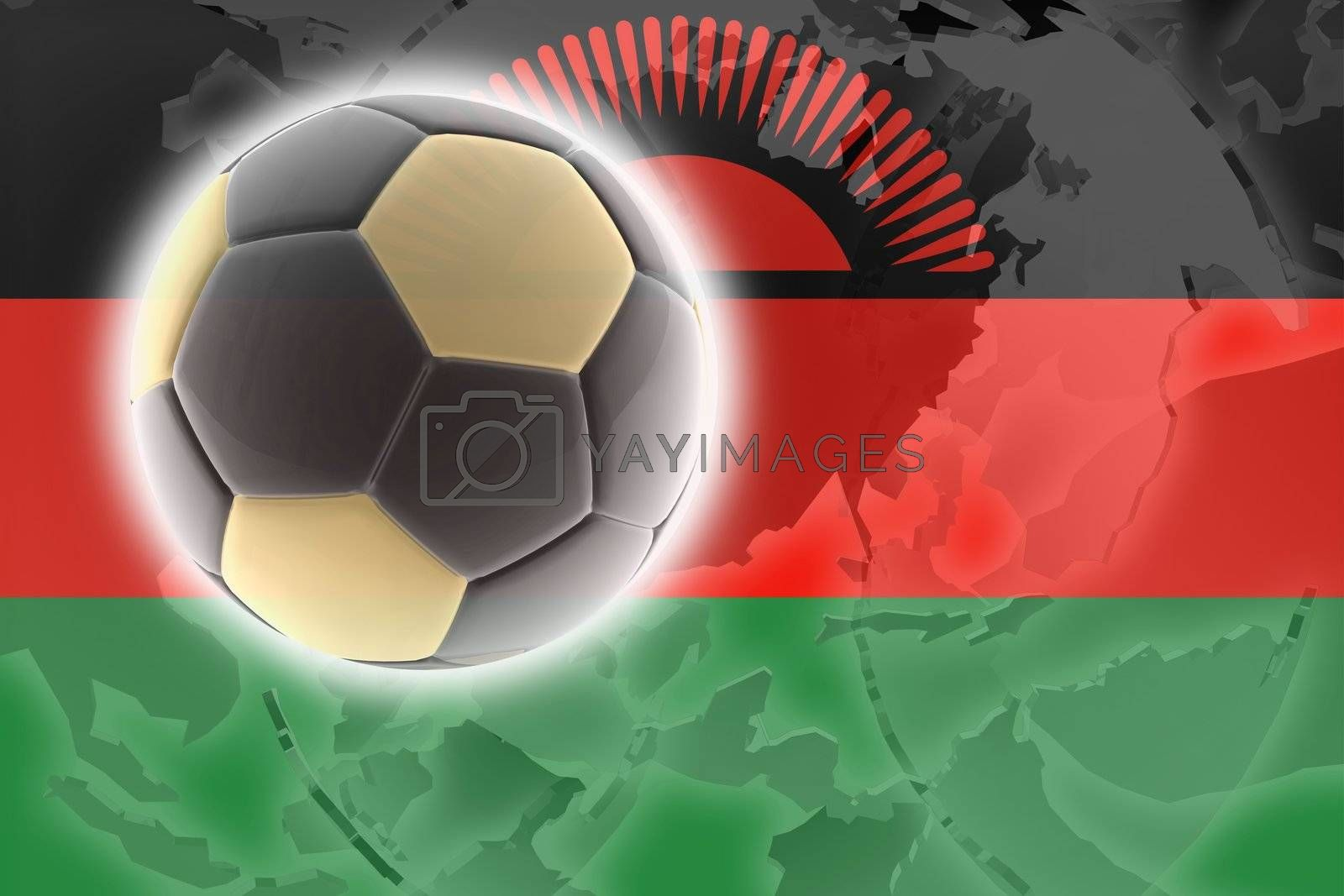 Flag of Malawi, national country symbol illustration sports soccer football
