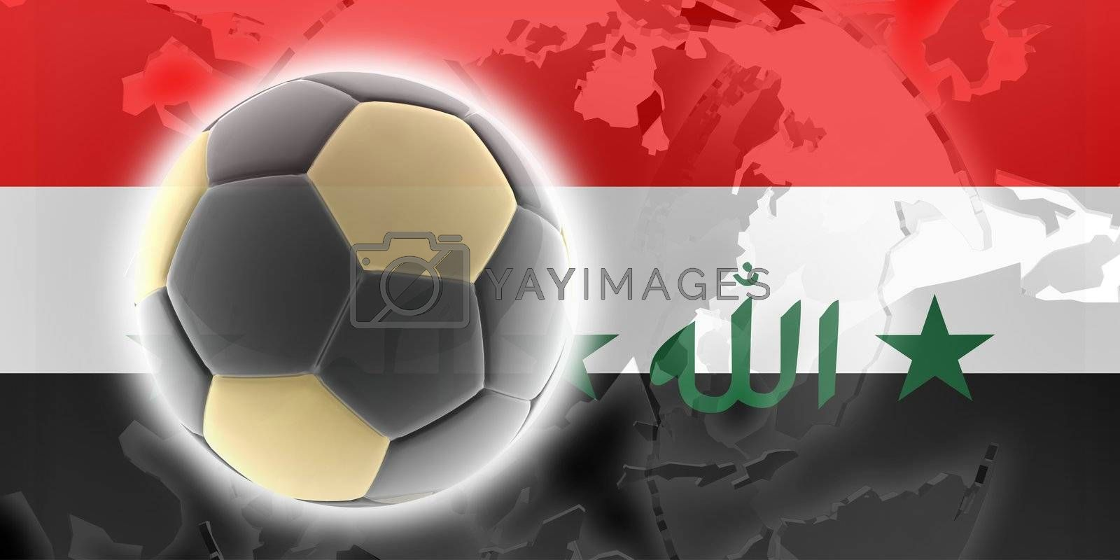 Flag of Iraq, national country symbol illustration sports soccer football