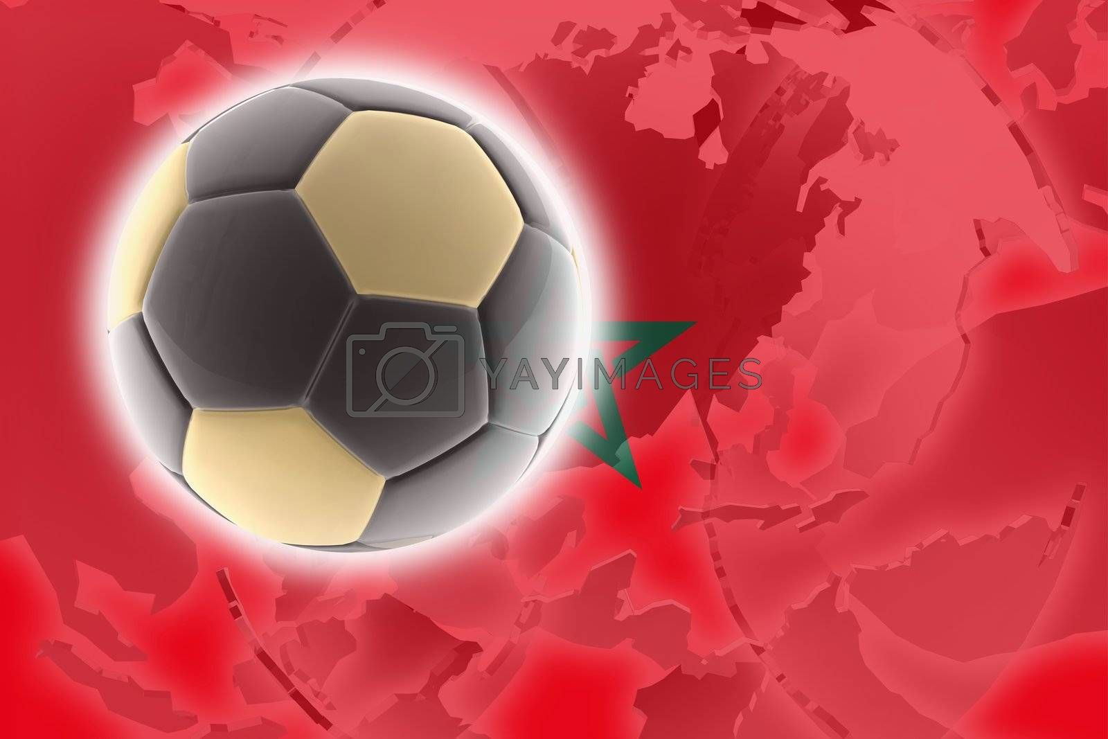 Flag of Morrocco, national country symbol illustration sports soccer football