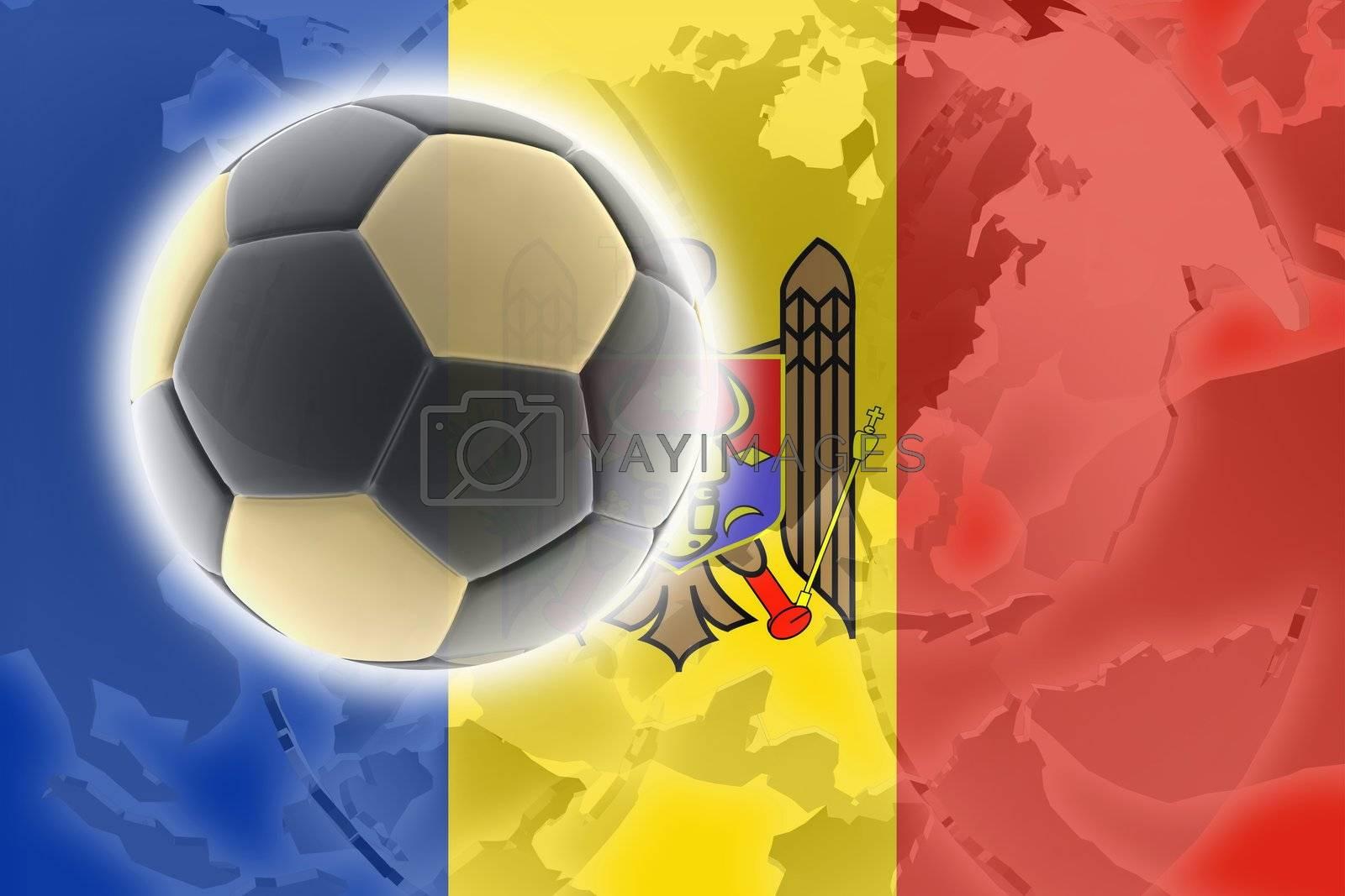 Flag of Moldova, national country symbol illustration sports soccer football