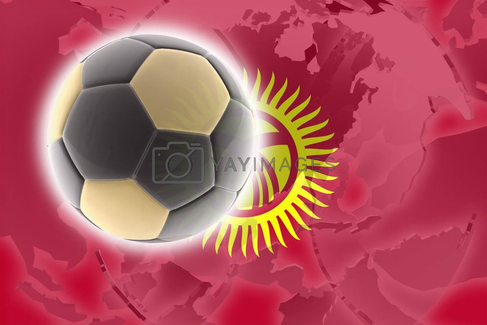 Flag of Kyrgyzstan, national country symbol illustration sports soccer football