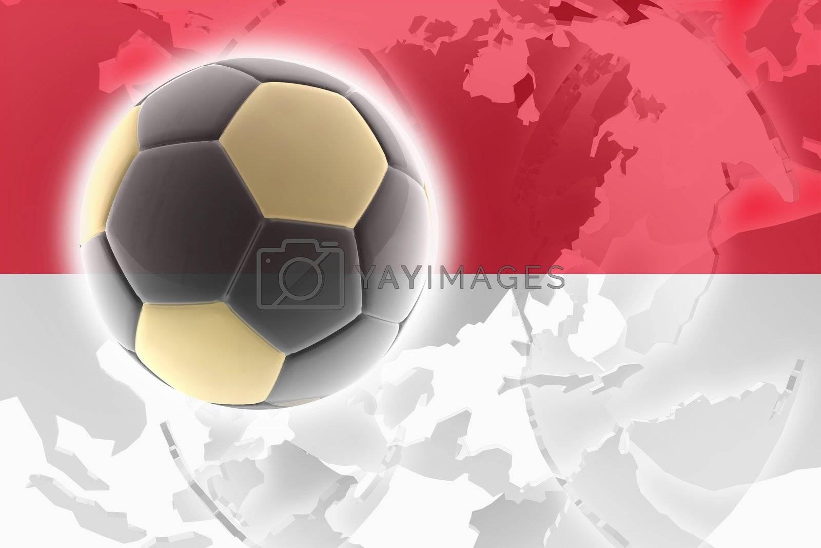 Flag of Monaco, national country symbol illustration sports soccer football