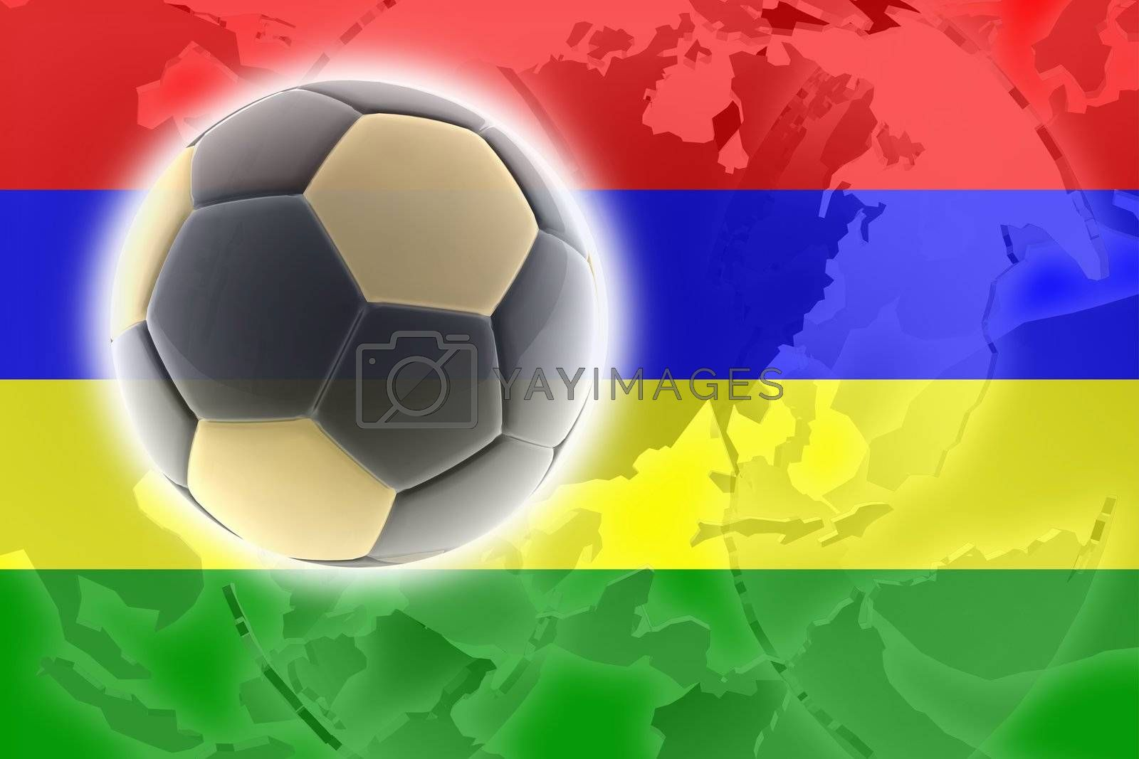 Flag of Mauritius, national country symbol illustration sports soccer football
