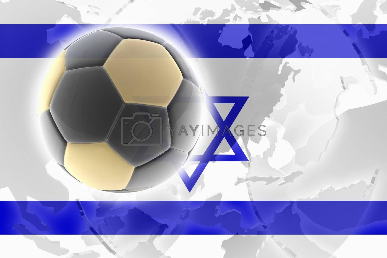 Flag of Israel, national country symbol illustration sports soccer football