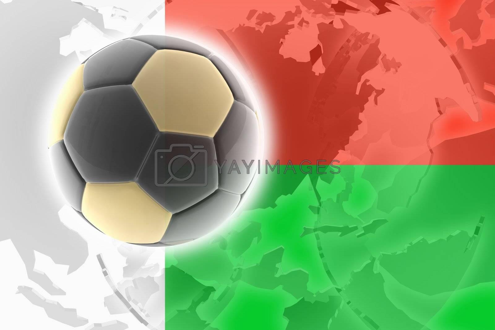 Flag of Madagascar, national country symbol illustration sports soccer football