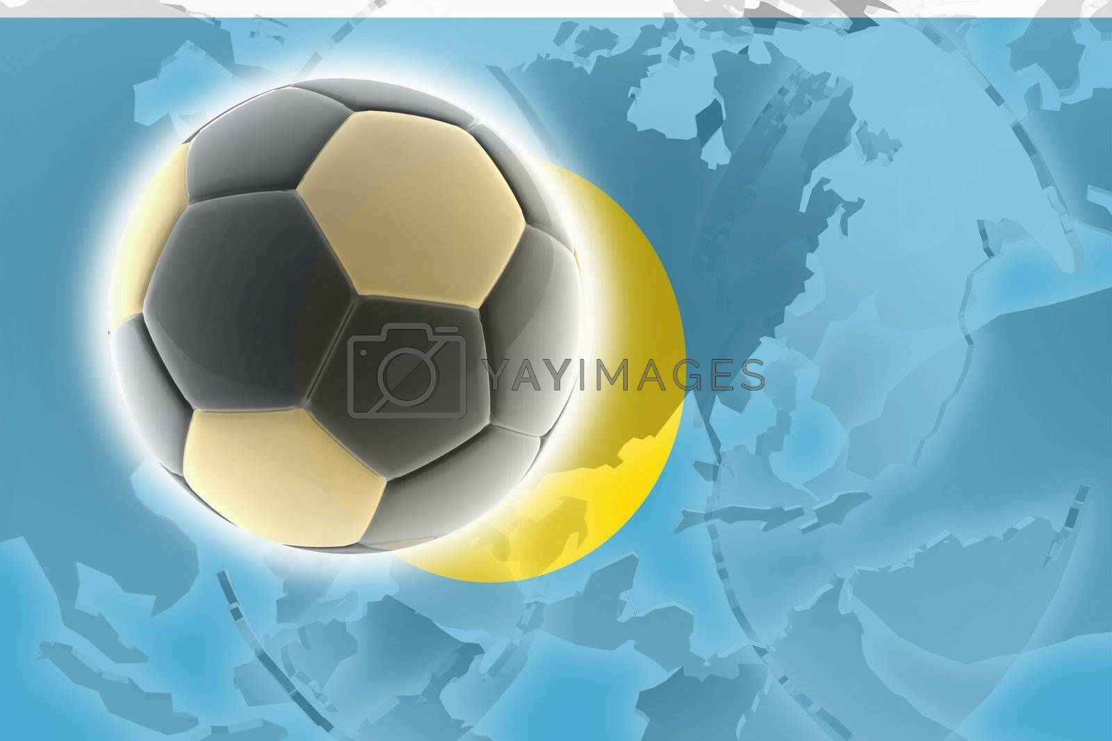 Flag of Palau, national country symbol illustration sports soccer football