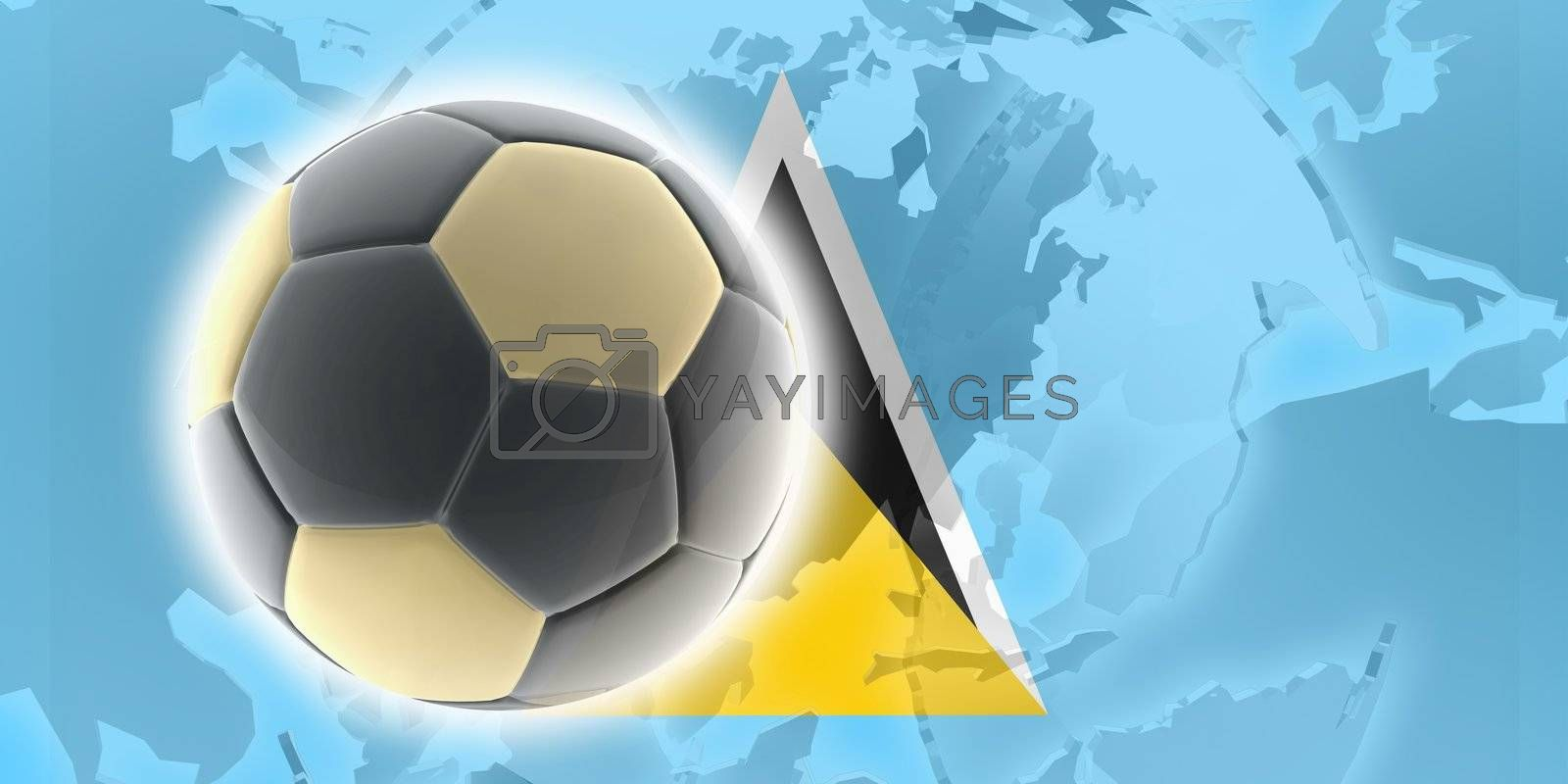 Flag of Saint Lucia, national country symbol illustration sports soccer football