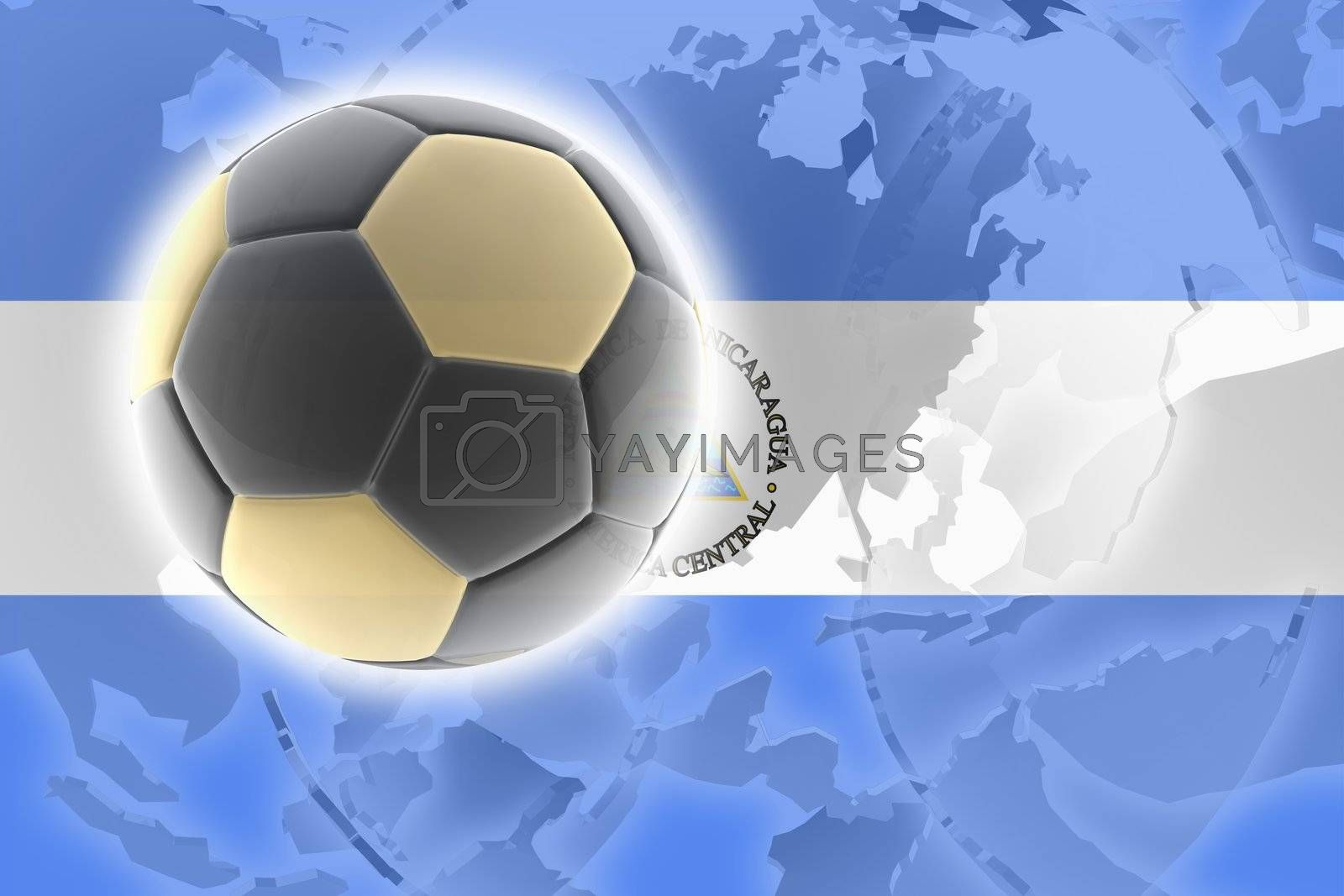 Flag of Nicaragua, national country symbol illustration sports soccer football