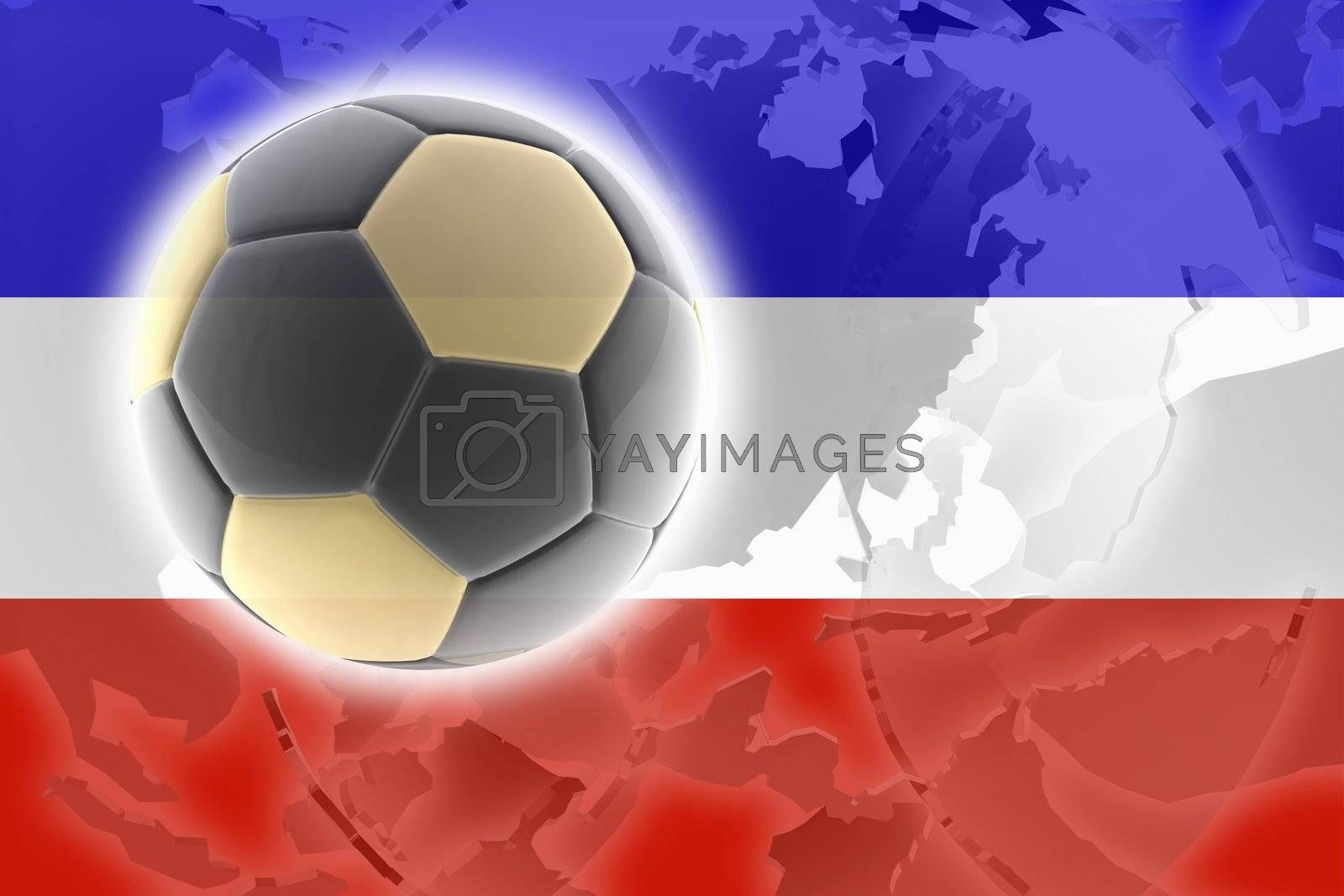 Flag of Serbia and Montenegro, national country symbol illustration sports soccer football