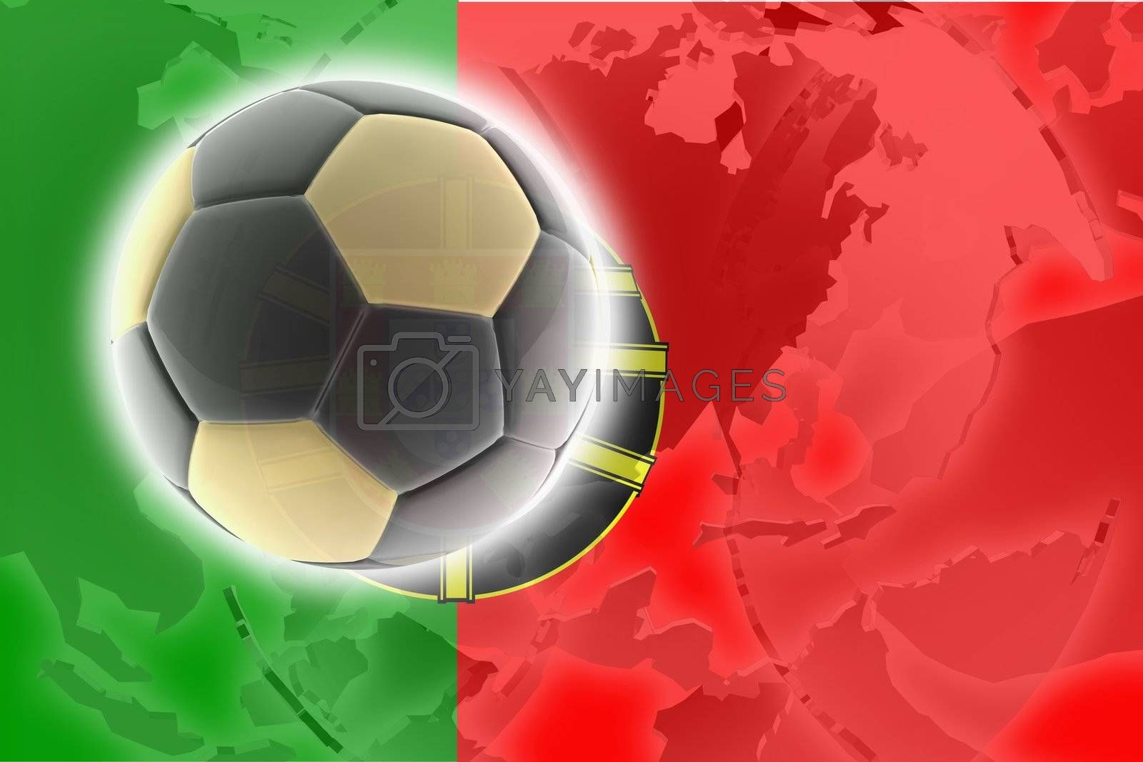 Flag of Portugal, national country symbol illustration sports soccer football