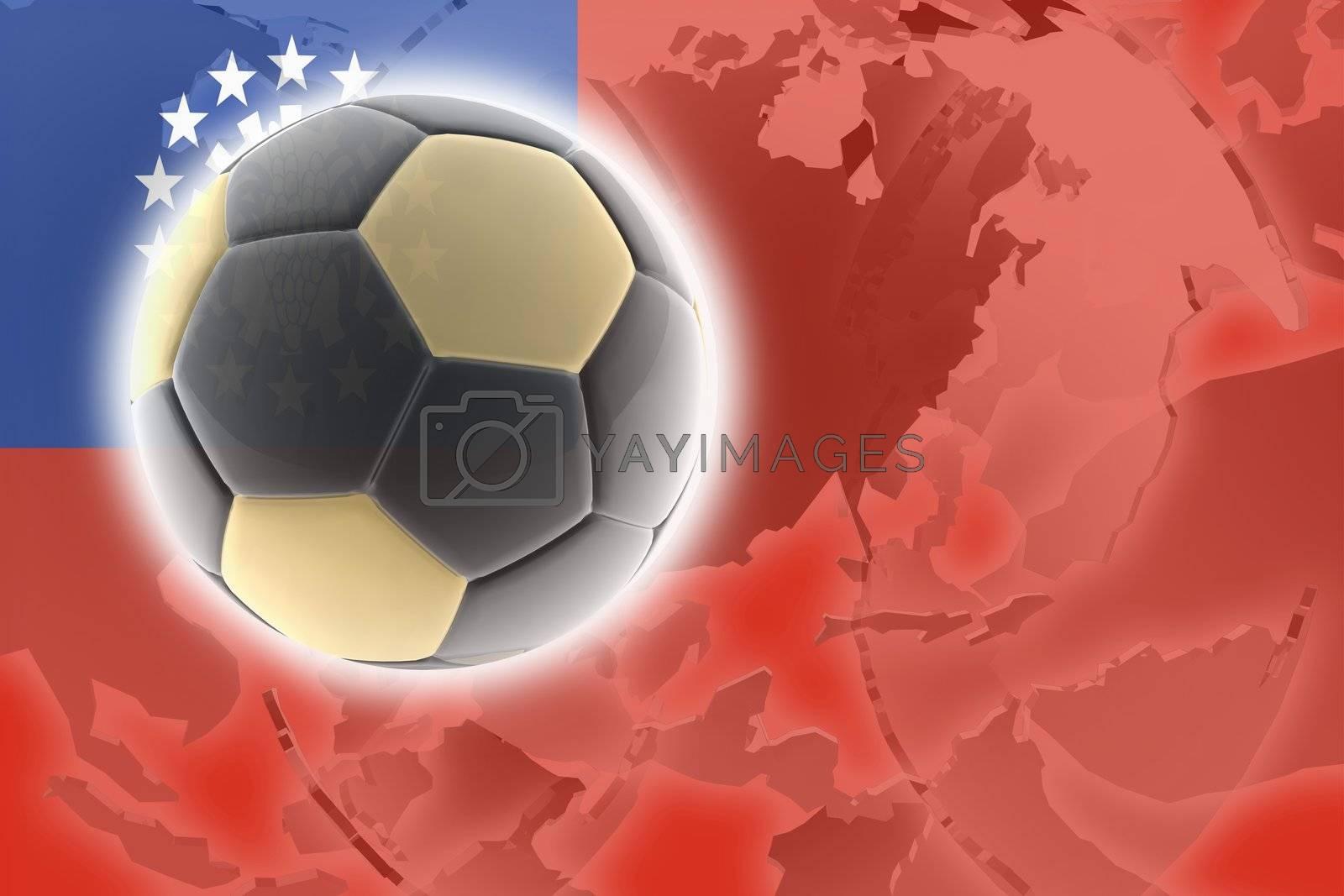 Flag of Myanmar, national country symbol illustration sports soccer football