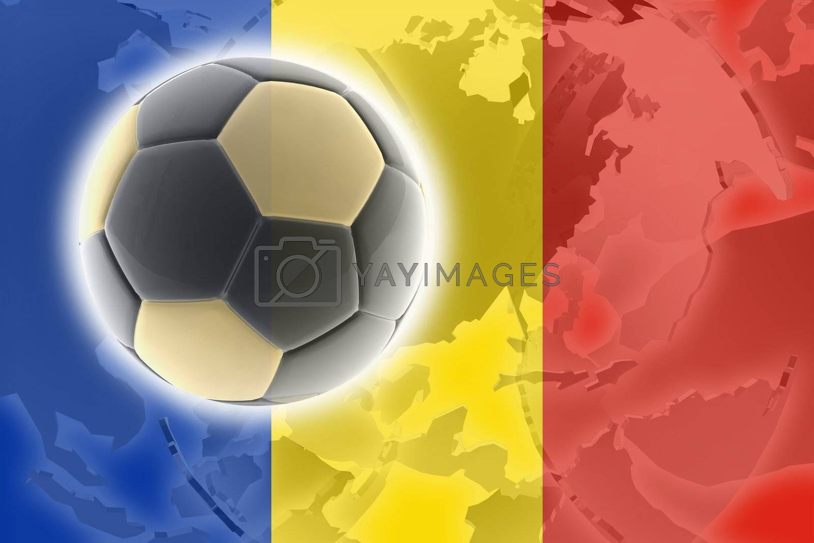 Flag of Romania, national country symbol illustration sports soccer football