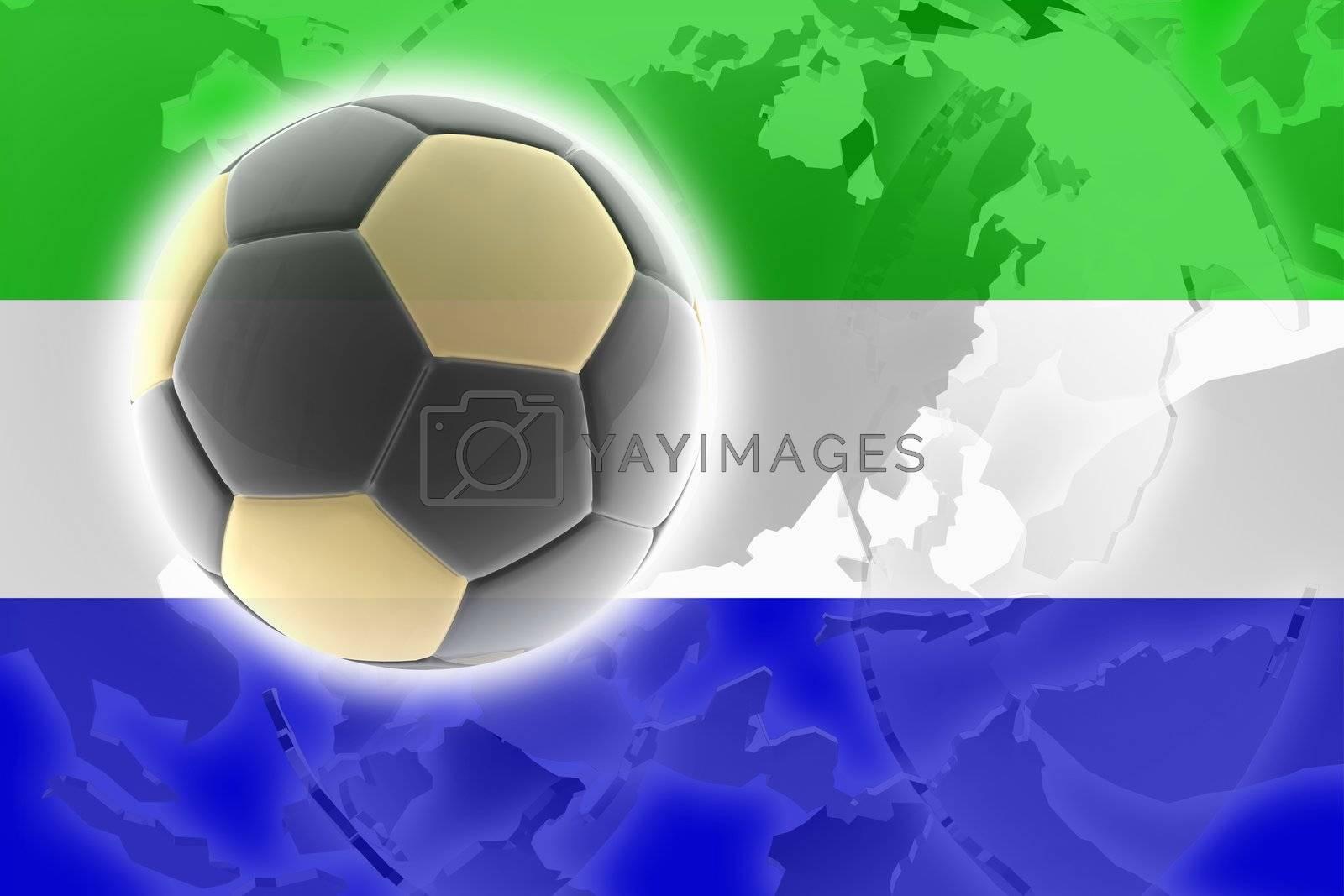 Flag of Sierra Leone, national country symbol illustration sports soccer football