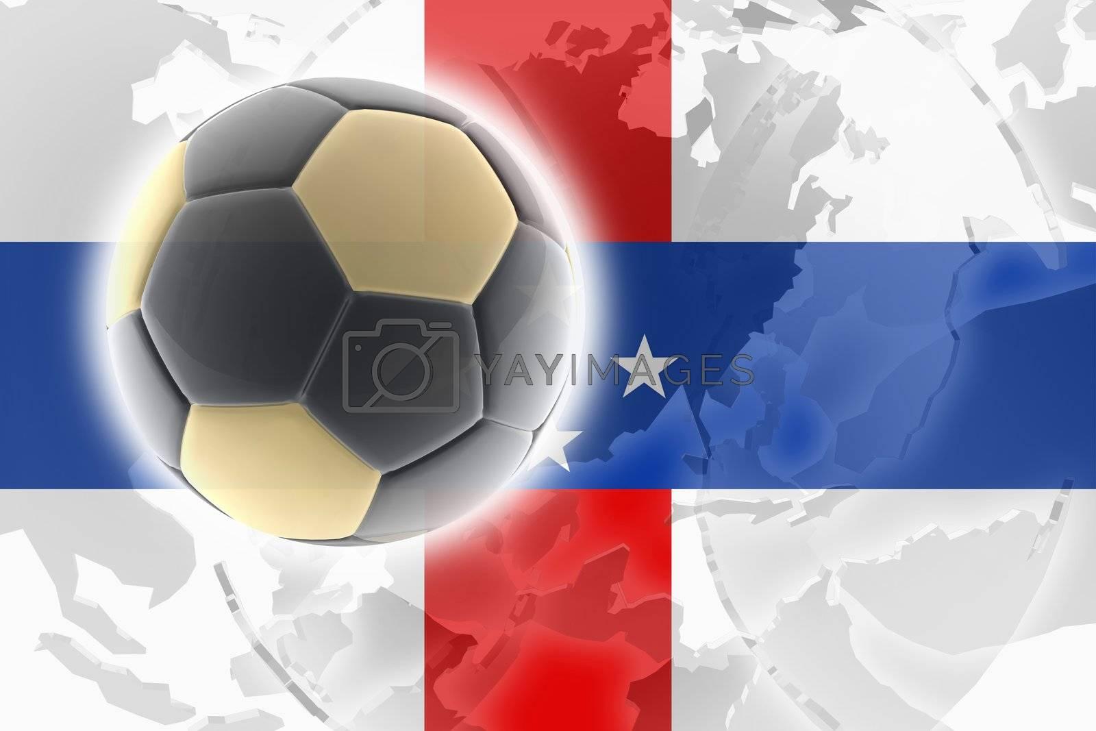 Flag ofNetherland Antilles, national country symbol illustration sports soccer football