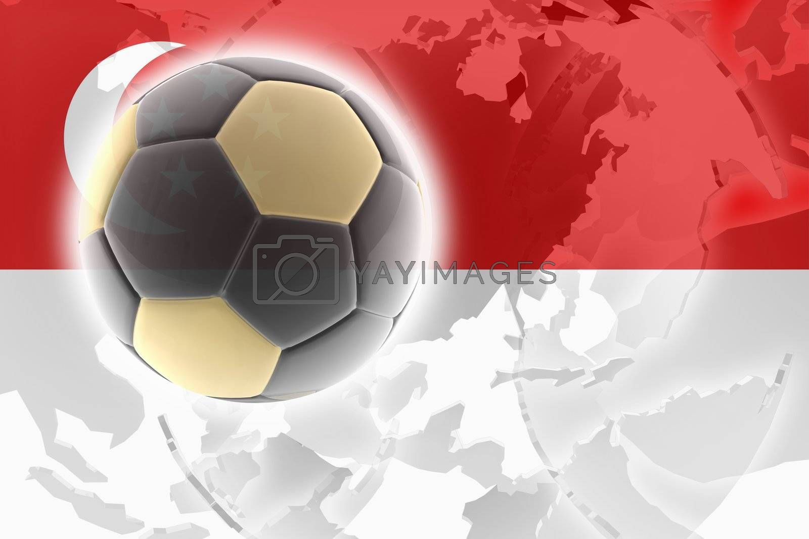 Flag of Singapore, national country symbol illustration sports soccer football