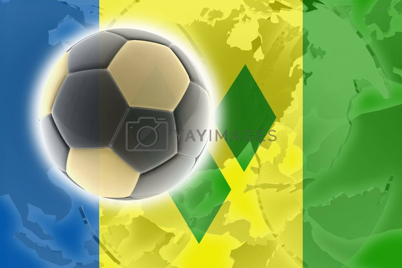 Flag of Saint Vincent and Grenadines, national country symbol illustration sports soccer football