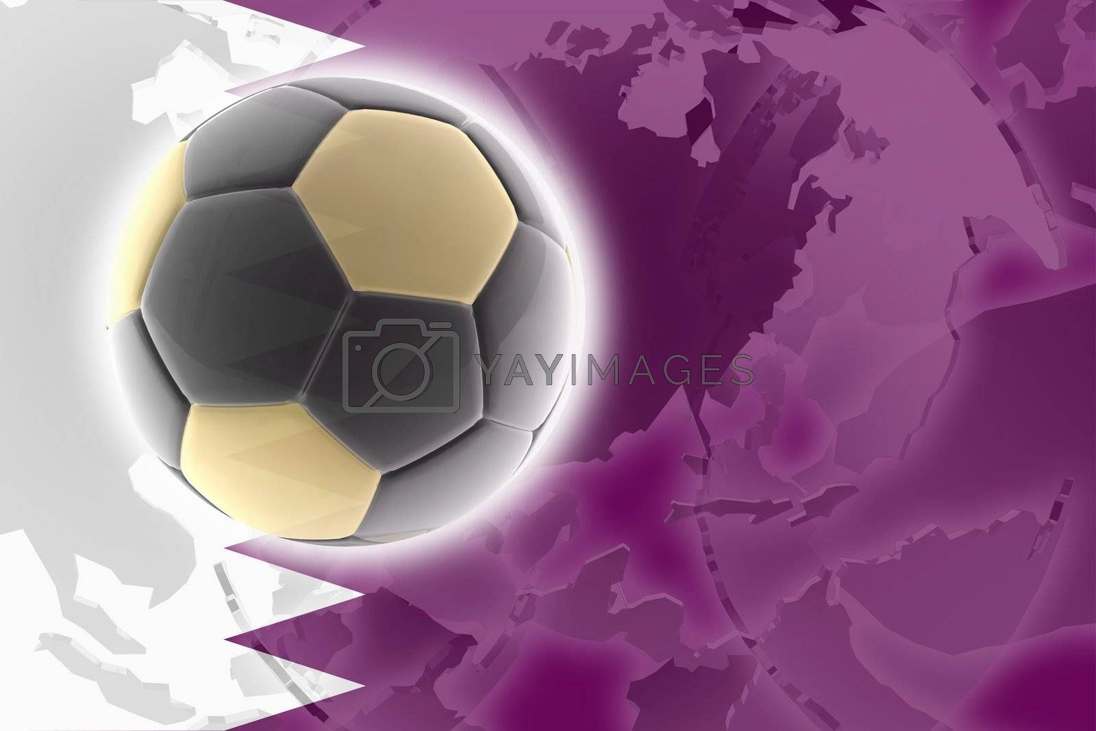 Flag of Qatar, national country symbol illustration sports soccer football