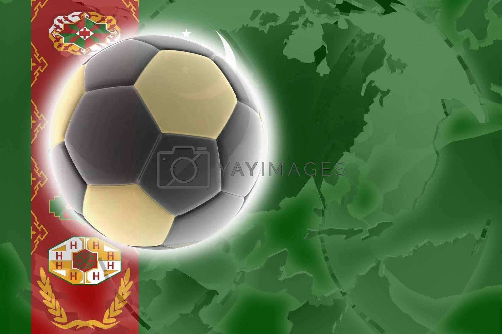 Flag of Turkmenistan, national country symbol illustration sports soccer football