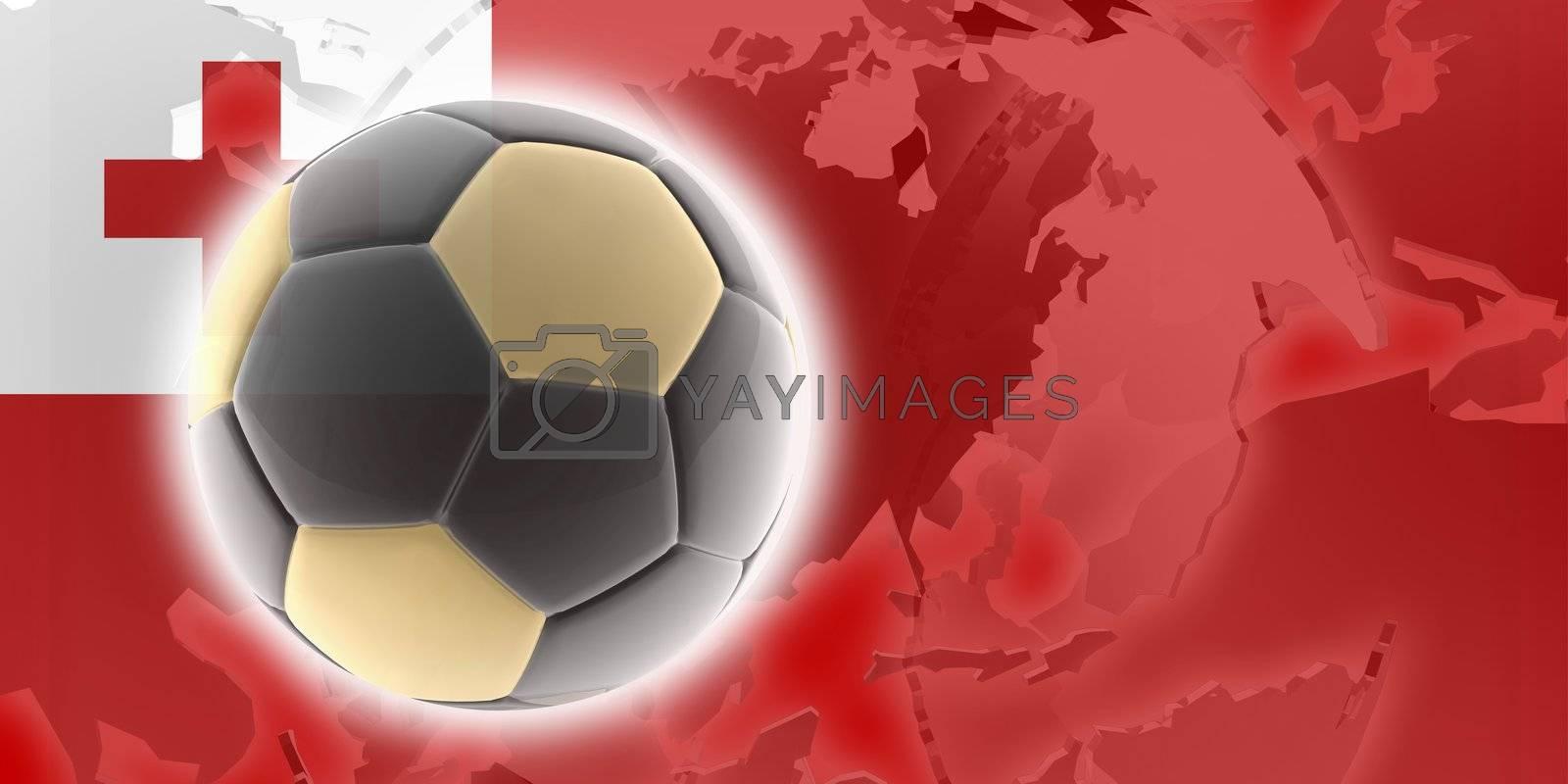 Flag of Tonga, national country symbol illustration sports soccer football
