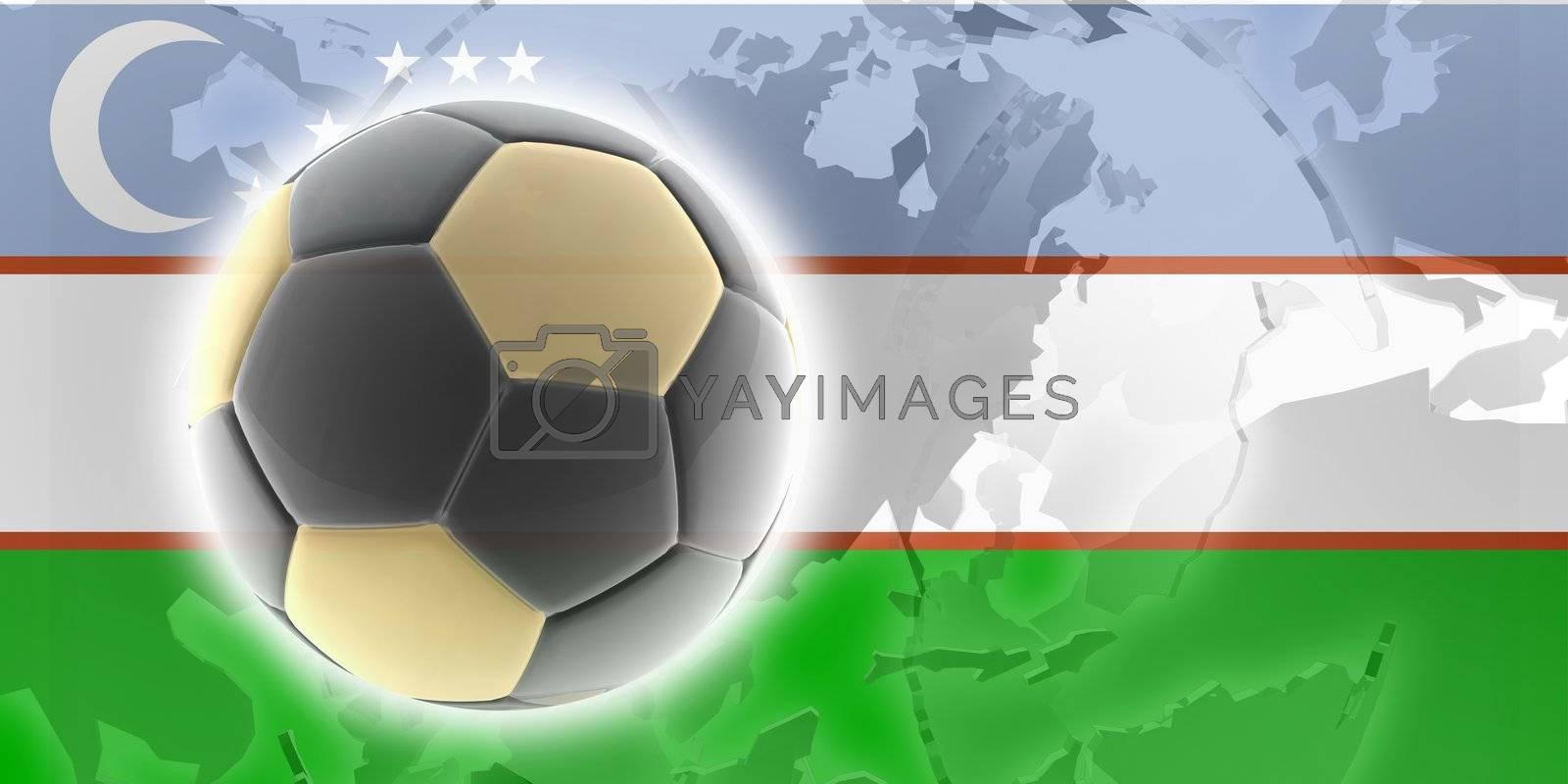 Flag of Uzbekistan, national country symbol illustration sports soccer football