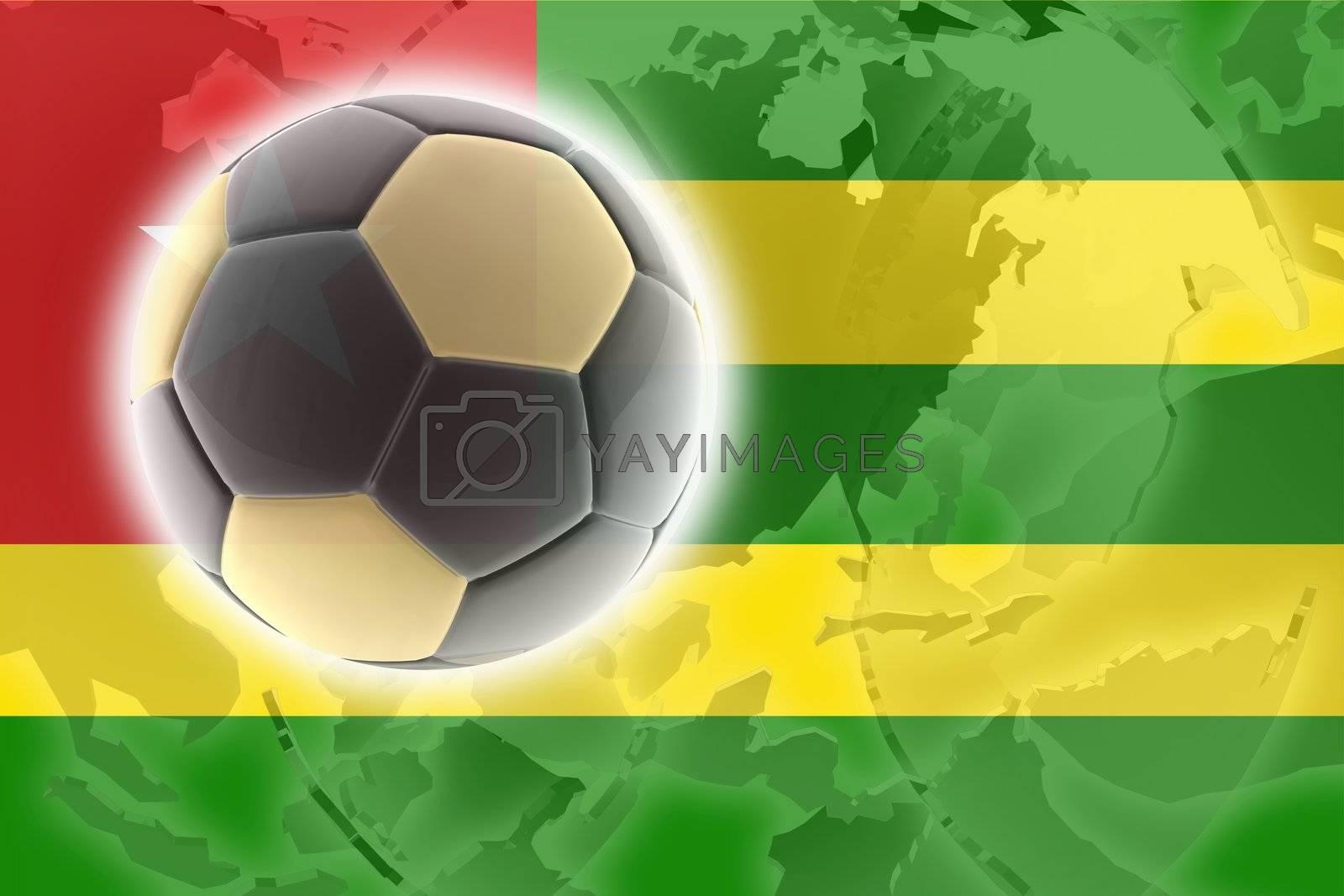 Flag of Togo, national country symbol illustration sports soccer football