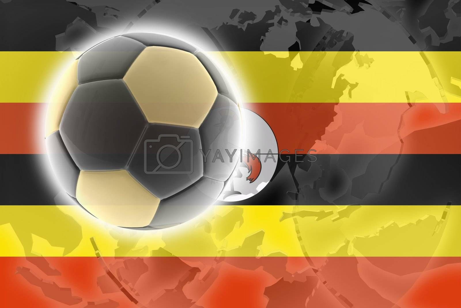 Flag of Uganda, national country symbol illustration sports soccer football