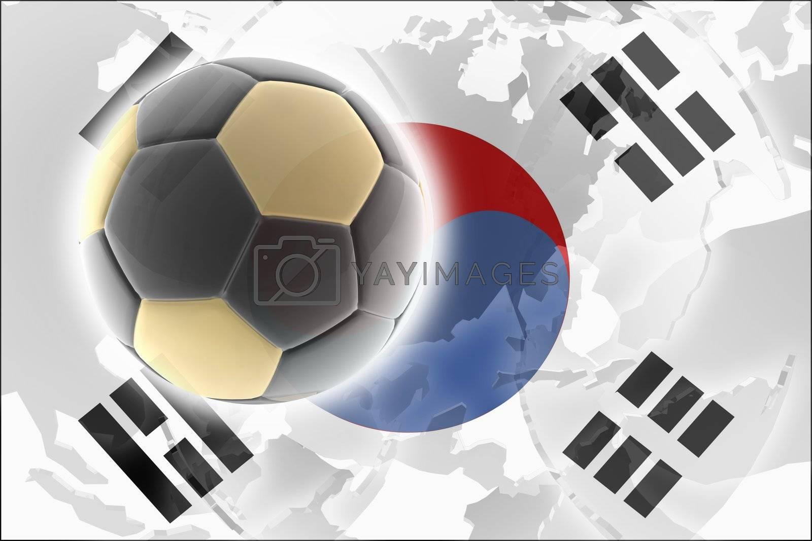 Flag of South Korea, national country symbol illustration sports soccer football