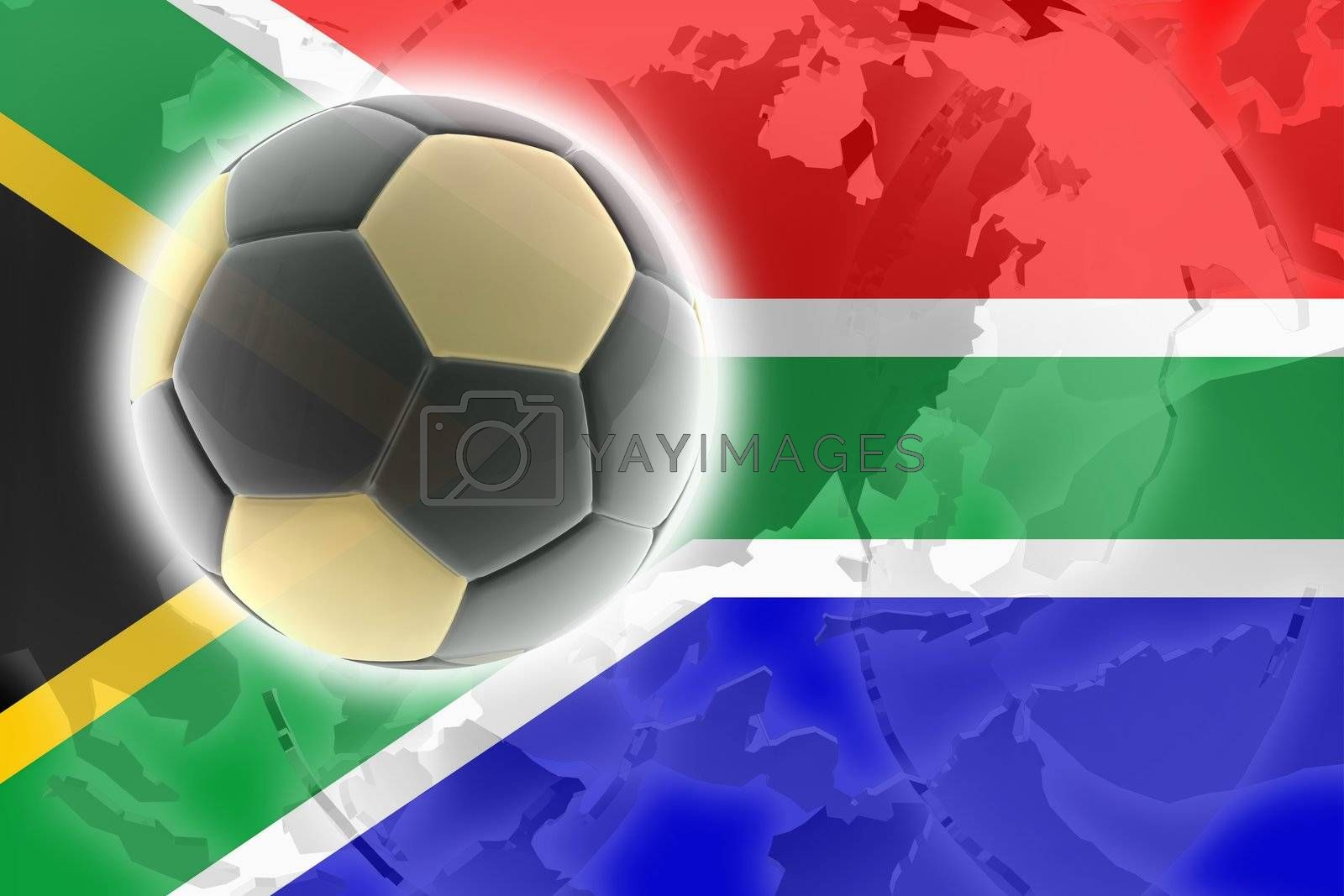 Flag of South Africa, national country symbol illustration sports soccer football